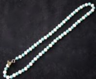 42CM WHITE CULTURED FRESHWATER PEARL AND TURQUISE +9CT